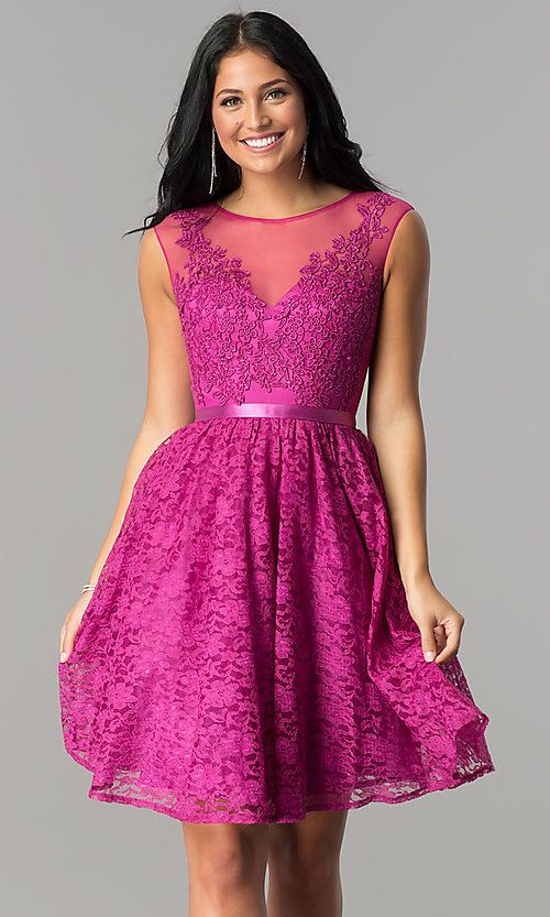 Image of knee-length illusion-neckline lace homecoming dress. Style: LP-24131 Detail Image 3