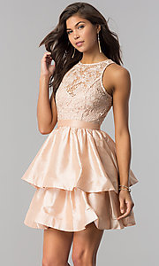 Image of short homecoming dress with tiered taffeta skirt. Style: LP-24505 Detail Image 1