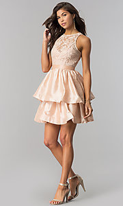 Image of short homecoming dress with tiered taffeta skirt. Style: LP-24505 Detail Image 2