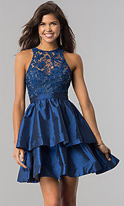 Image of short homecoming dress with tiered taffeta skirt. Style: LP-24505 Detail Image 3