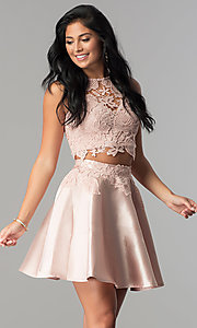 Image of two-piece lace-bodice short homecoming dress. Style: LP-90062 Front Image