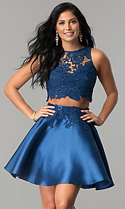 Image of two-piece lace-bodice short homecoming dress. Style: LP-90062 Detail Image 2