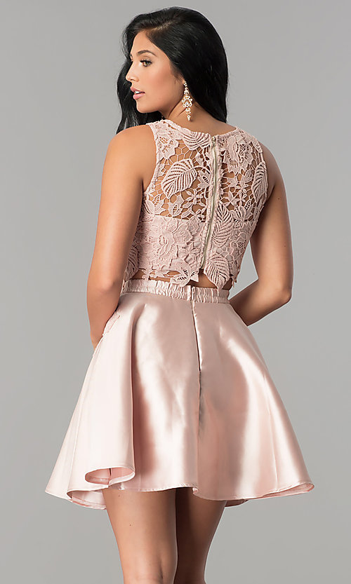 Image of two-piece lace-bodice short homecoming dress. Style: LP-90062 Back Image