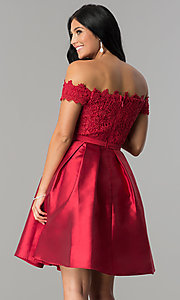 Image of off-the-shoulder lace-bodice homecoming dress. Style: LP-24108 Back Image