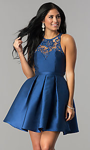 Image of lace neckline satin a-line short homecoming dress. Style: LP-24391 Front Image