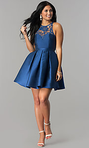 Image of lace neckline satin a-line short homecoming dress. Style: LP-24391 Detail Image 1