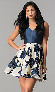 Short Floral-Applique V-Neck Navy Homecoming Dress