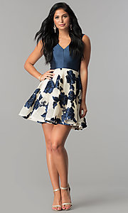 Image of floral-applique v-neck navy homecoming dress. Style: LP-27002 Detail Image 2