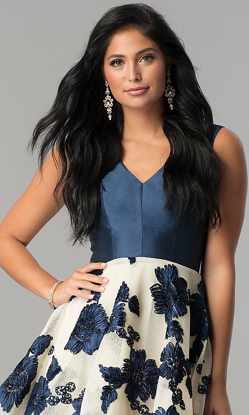 Image of floral-applique v-neck navy homecoming dress. Style: LP-27002 Detail Image 1