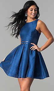Homecoming Dress with Short Box-Pleated Skirt