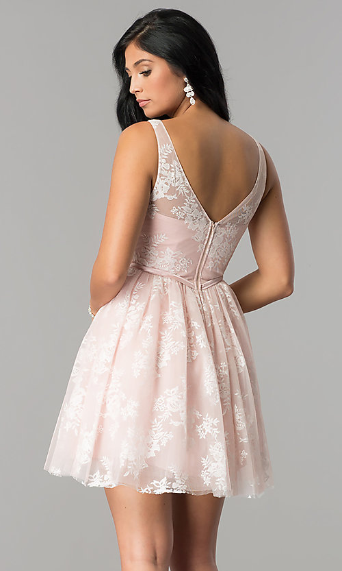 Image of bateau-neck short embroidered homecoming dress.  Style: LP-24263 Back Image