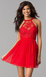 Image of short tulle high-neck illusion homecoming dress. Style: LP-24066 Detail Image 3