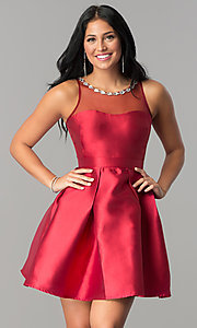 Image of satin short homecoming dress with illusion neckline. Style: LP-24104 Detail Image 1
