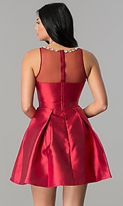 Image of satin short homecoming dress with illusion neckline. Style: LP-24104 Back Image