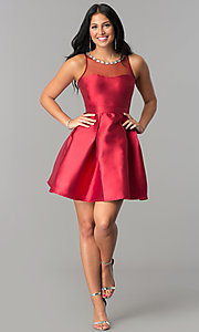 Image of satin short homecoming dress with illusion neckline. Style: LP-24104 Detail Image 2