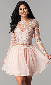 Image of sleeved embroidered-bodice two-piece homecoming dress. Style: LP-97036 Front Image