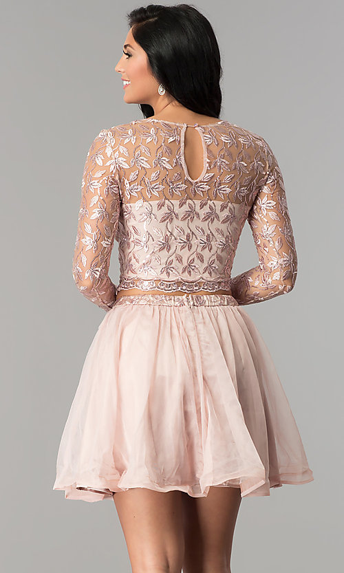 Image of sleeved embroidered-bodice two-piece homecoming dress. Style: LP-97036 Back Image