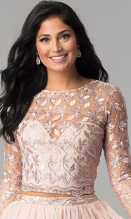 Image of sleeved embroidered-bodice two-piece homecoming dress. Style: LP-97036 Detail Image 2
