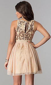 Image of sequin-bodice short wedding-guest party dress. Style: LP-23038 Back Image