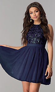 Image of sequin-bodice short wedding-guest party dress. Style: LP-23038 Detail Image 2