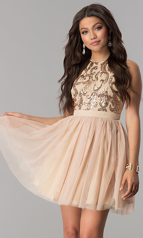 Image of sequin-bodice short wedding-guest party dress. Style: LP-23038 Front Image