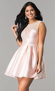 Image of short illusion-sweetheart party dress for homecoming. Style: LP-27184 Front Image