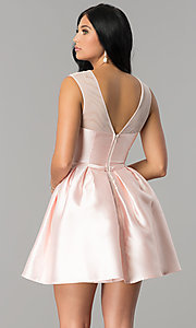 Image of short illusion-sweetheart party dress for homecoming. Style: LP-27184 Back Image