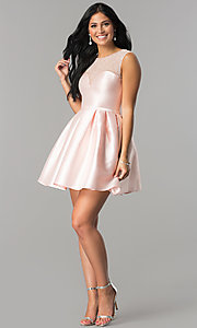 Image of short illusion-sweetheart party dress for homecoming. Style: LP-27184 Detail Image 2