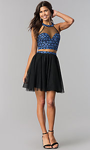Image of black and blue two-piece short homecoming party dress. Style: LP-97031 Detail Image 1