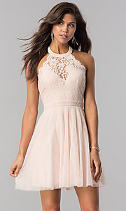 Image of high-neck short halter party dress for homecoming. Style: LP-27125 Front Image