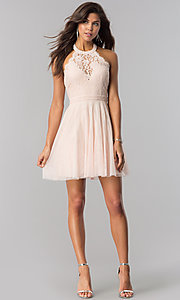 Image of high-neck short halter party dress for homecoming. Style: LP-27125 Detail Image 1