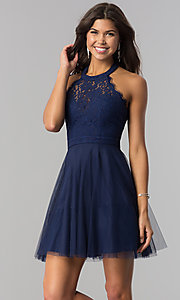 Image of high-neck short halter party dress for homecoming. Style: LP-27125 Detail Image 2