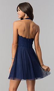 Image of high-neck short halter party dress for homecoming. Style: LP-27125 Detail Image 3