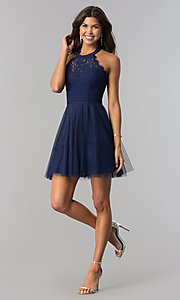 Image of high-neck short halter party dress for homecoming. Style: LP-27125 Detail Image 4