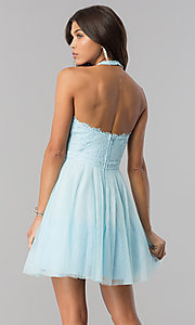 Image of high-neck short halter party dress for homecoming. Style: LP-27125 Detail Image 6
