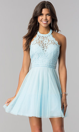 Lace-Bodice Short Tulle Halter Party Dress - PromGirl