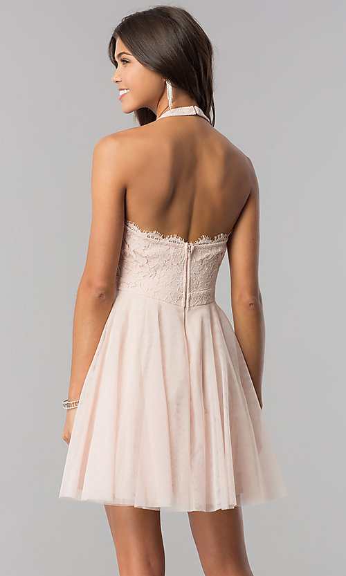 Image of high-neck short halter party dress for homecoming. Style: LP-27125 Back Image