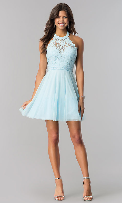 Image of high-neck short halter party dress for homecoming. Style: LP-27125 Detail Image 7
