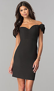 Short Off-the-Shoulder Empire-Waist Homecoming Dress
