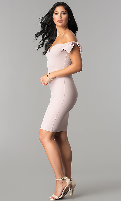 Image of short off-the-shoulder high-waist homecoming dress. Style: LP-24630 Detail Image 3