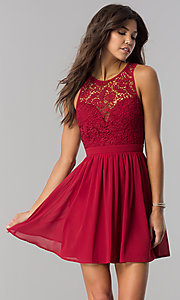 Image of embroidered-lace-bodice short homecoming party dress. Style: LP-27242 Detail Image 1