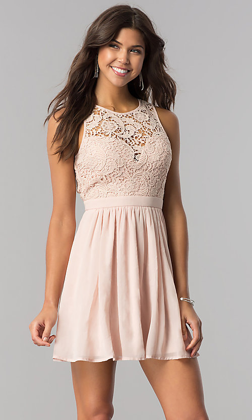 Image of embroidered-lace-bodice short homecoming party dress. Style: LP-27242 Front Image