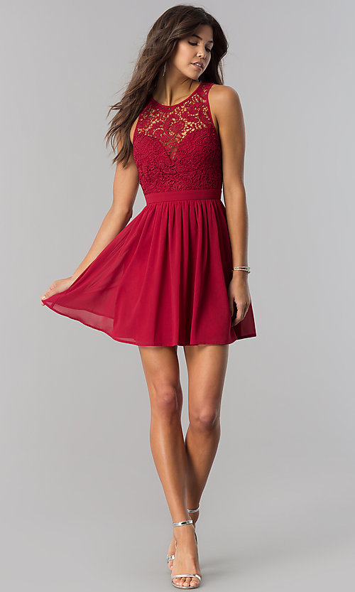 Image of embroidered-lace-bodice short homecoming party dress. Style: LP-27242 Detail Image 2
