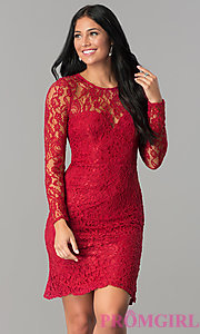 Image of long-sleeve floral-lace short homecoming party dress. Style: LP-23197 Detail Image 1