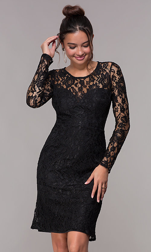 53f235d20c9 Image of long-sleeve floral-lace short homecoming party dress. Style  LP