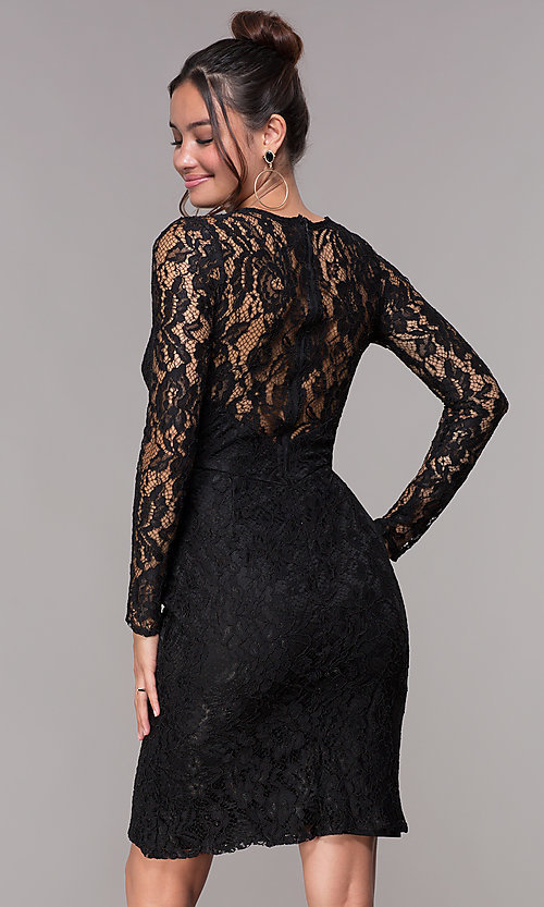Long Sleeve Lace Short Homecoming Dress Promgirl