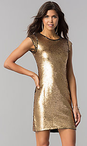 Image of black and gold sequin homecoming dress with sleeves. Style: LP-24257 Detail Image 2