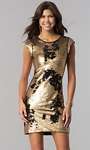 Image of black and gold sequin homecoming dress with sleeves. Style: LP-24257 Front Image