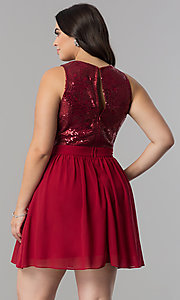 Image of short sequin-bodice plus-size homecoming party dress. Style: LP-23038P Back Image