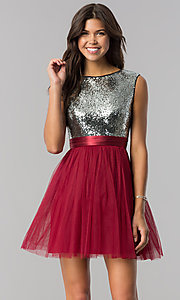 Image of short homecoming dress in burgundy red and silver. Style: LP-24213B Front Image